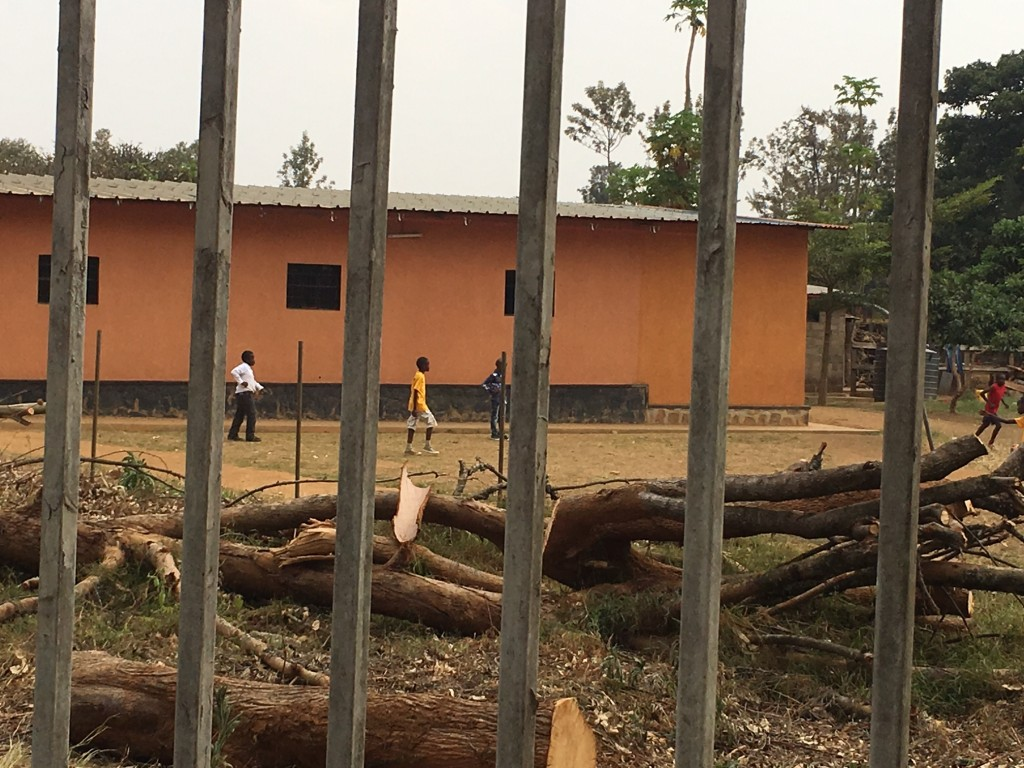 View from Nyamata - School children trickling out for recess