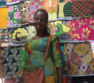 So many colors and patterns to choose from - Patricia's stand, Kigali Market.