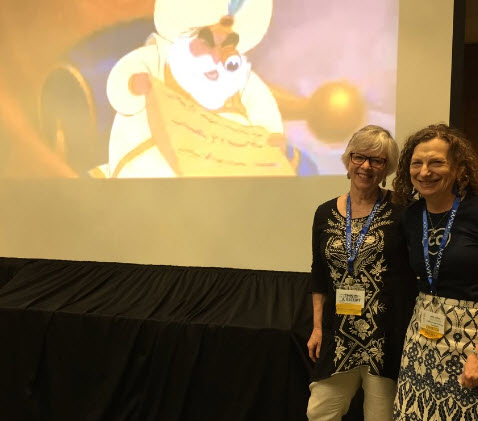 Photo of Jane Lofton and Gail Desler just getting started on their CUE17 presentation.