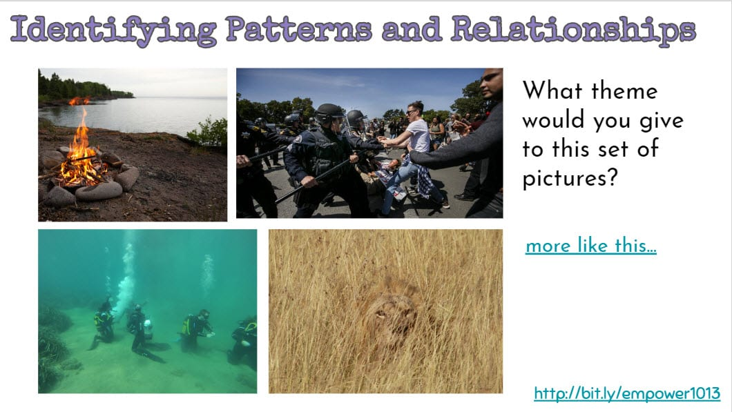 4 different images for students to find a common theme.