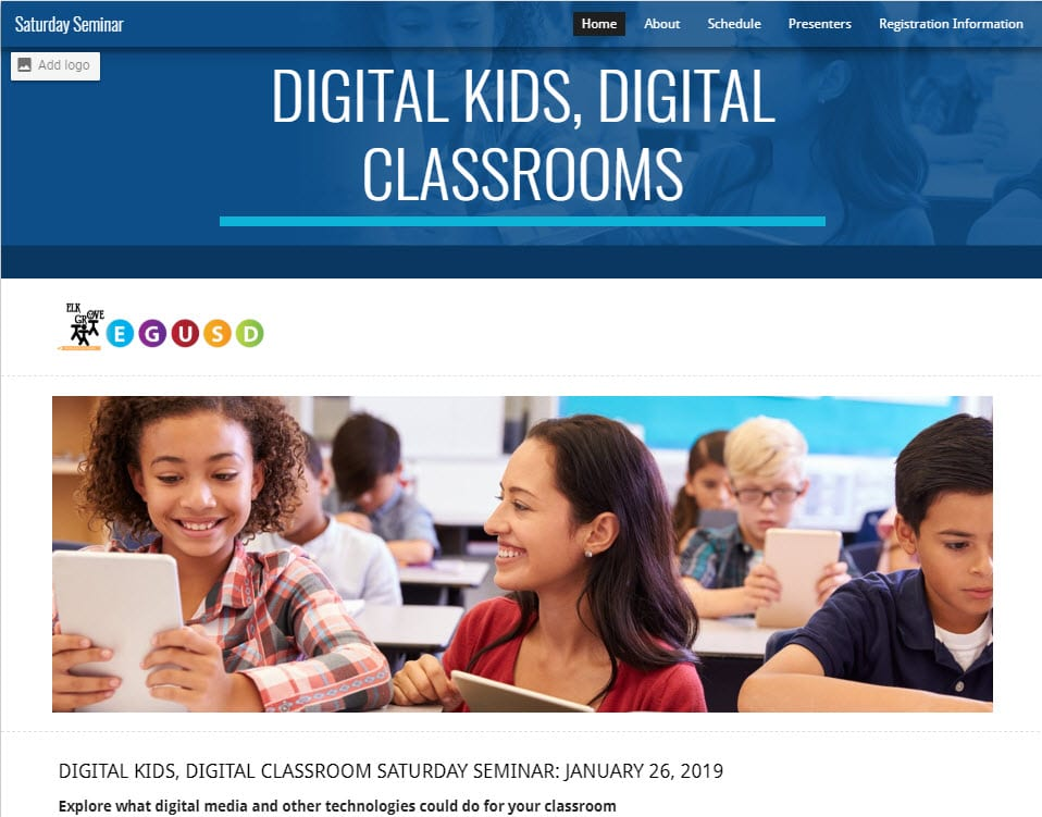 Elk Grove USD's Annual Digital Kids, Digital Classrooms website