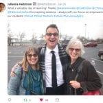 Photo from Twitter stream of keynote speaker Glen Warren and teachers Cathe Petuya and Gail Desler