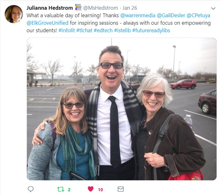 Photo from Twitter stream of keynote speaker Glen Warren and teachers Cathe Petuya and Gail Desler