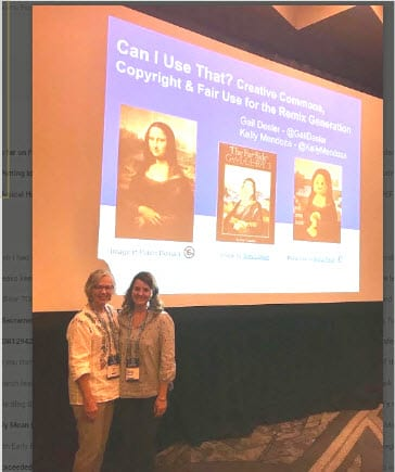 Kelly Mendoza and Gail Desler presenting on copyright, fair use, and Creative Commons at #CUE19 Conference.